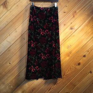 Karen Scott Long Skirt Velvet Look Floral Print XL